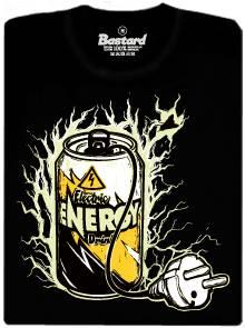 Elektricky nabitý energetický nápoj - černé pánské tričko