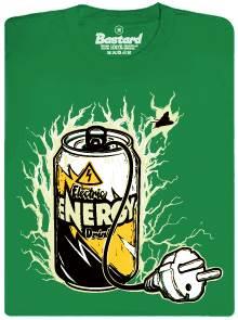 Energetický nápoj nabitý ze zásuvky na 220V - zelené pánské tričko