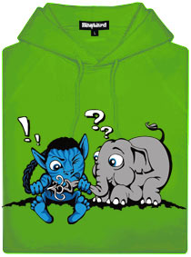 Zelená pánská mikina s potiskem Error 501 - Avatar a slůně