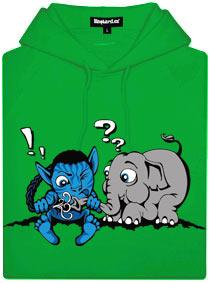 Zelená dámská mikina s potiskem Avatar spojení se slonem