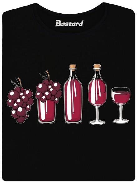 Evoluce červeného vína - černé dámské tričko