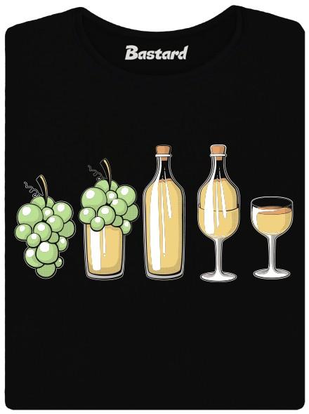 Evoluce bílého vína - černé dámské tričko
