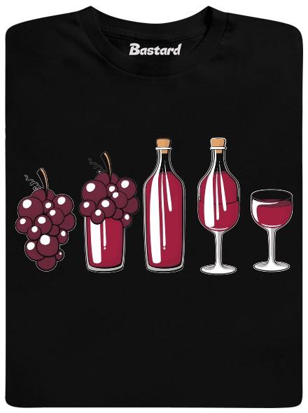 Červené víno od hroznu přes lahev až k dvojce skleničce - černé pánské tričko