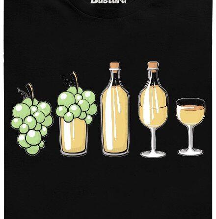 Bílé víno od bobule přes flašku až po skleničku - černé pánské tričko