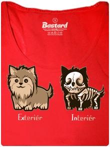 Teriér, exteriér, interiér - červené dámské tričko