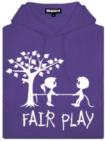 Fialová dámská mikina s potiskem Fair play
