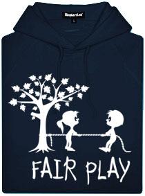 Modrá dámská mikina s potiskem Fair play
