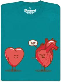Falešné srdce - modré pánské tričko s potiskem