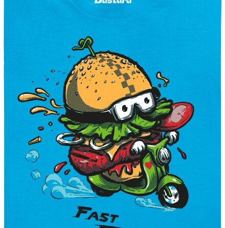Fast Food hambáč na skútru - modré pánské tričko