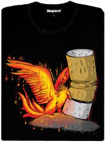 Fénix povstává s cigaretového popela - černé dámské tričko