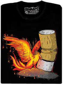Fénix povstávající z cigaretového popela - čené pánské tričko