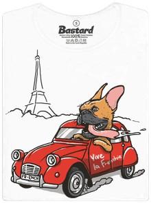 Francouský buldoček v autě před Eiffelovkou - bílé dámské tričko