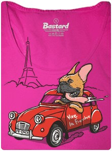 Francouzský buldoček miluje francii - růžové dámské tričko