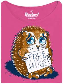 Objetí zdarma od ježka - fialové potisknuté dámské tričko