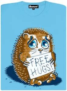 Free hugs - ježek - modré potisknuté dámské tričko