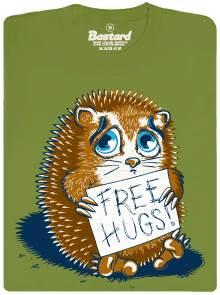 Free hugs - ježek - zelené pánské tričko s potiskem