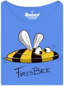 Frisbee včela - modré dámské tričko s vtipným potiskem