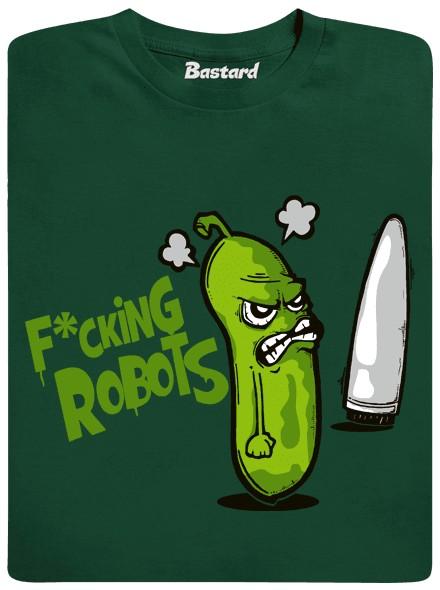 Fucking robots - zelená pánské tričko