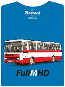 Narvaný autobus MHD - modré dámské tričko