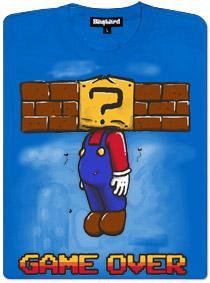 Game over - modré dámské tričko s potiskem