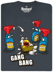 Uklízecí Gang Bang s uklízecími prostředky a houbičkou - šedé pánské tričko