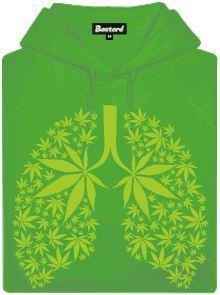 Ganja plíce - zelená pánská mikina s potiskem