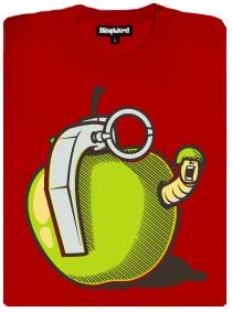 Granátové jablko s červem - červené pánské tričko s potiskem