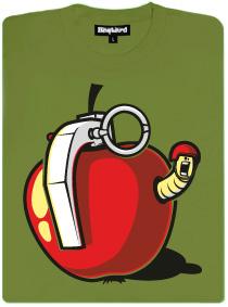 Granátové jablko jako granát s velitelem červem uvnitř