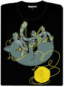 Grumpy cat si hraje s klubíčkem - černé dámské tričko