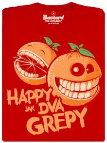 Happy jak dva grepy - červené pánské tričko