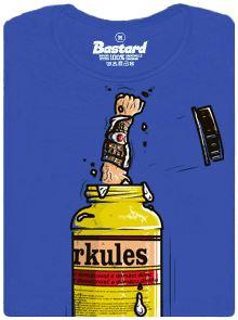 Ruka Herkula koukající z flašky od lepidla - modré dámské tričko