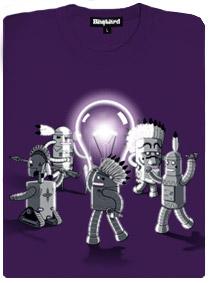 Roboti tancují kolem žárovky