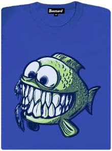 Usměvavá rybka s velkými zuby - modré dámské tričko