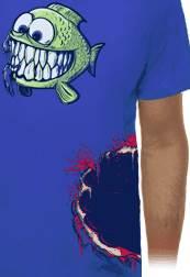 Hladová rybka a ukousnutý bok - tričko s potiskem