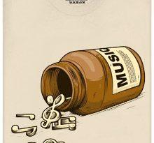 Hudební pilulky - krémové pánské tričko