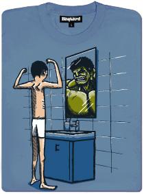 Hulk v zrcadle - modré pánské tričko s potiskem