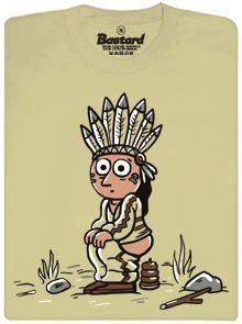 Indián vyrábí indiánka - pánské tričko s potiskem