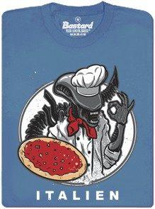 Italien - alien peče pizzu - modré pánské tričko