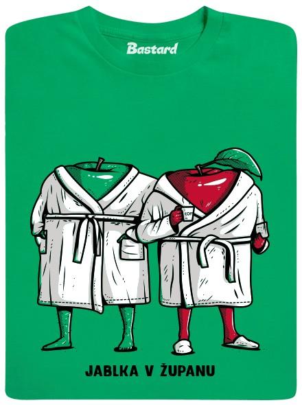 Jablka v županu - zelené pánské tričko