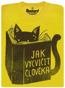 Kočičí povinná četba - kniha Jak vycvičit člověka - pánské tričko