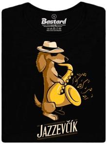 Jezevčík se saxofonem hrající a milující Jazz - černé dámské tričko