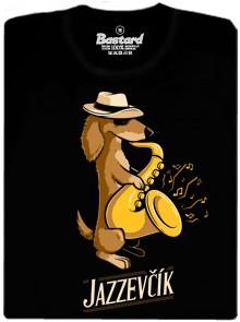 Jazzevčík - Jezevčík se saxofonem - černé pánské tričko