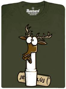 Jelen nacpaný do jeleního loje - zelené pánské tričko