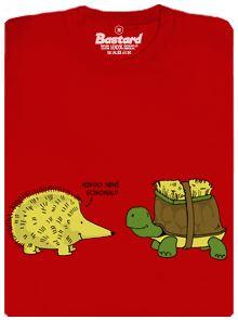 Ježek a želva s kartáčem - červené pánské tričko