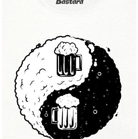 Jin Jang pivo - řezané - bílé dámské tričko