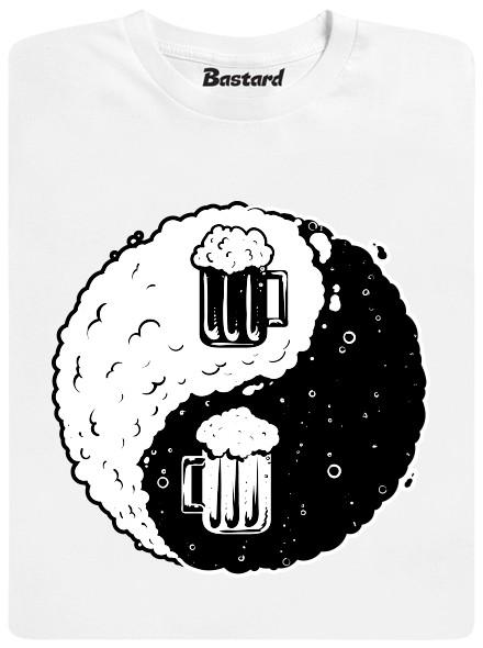 Jin Jang pivo - bílé pánské tričko