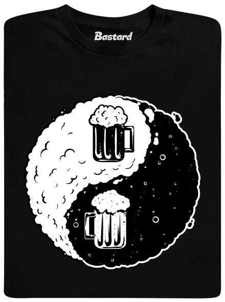 Jin a Jang pivo - černé pánské tričko