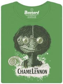 Chameleon jako John Lennon - zelené dámské tričko