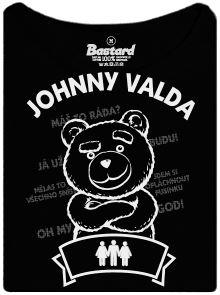 Johnny Valda - méďa  -černé dámské tričko s potiskem