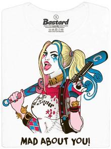 Harley Quinn - mad about you - bílé dámské tričko
